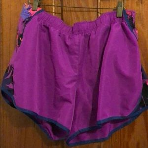 Purple running shorts